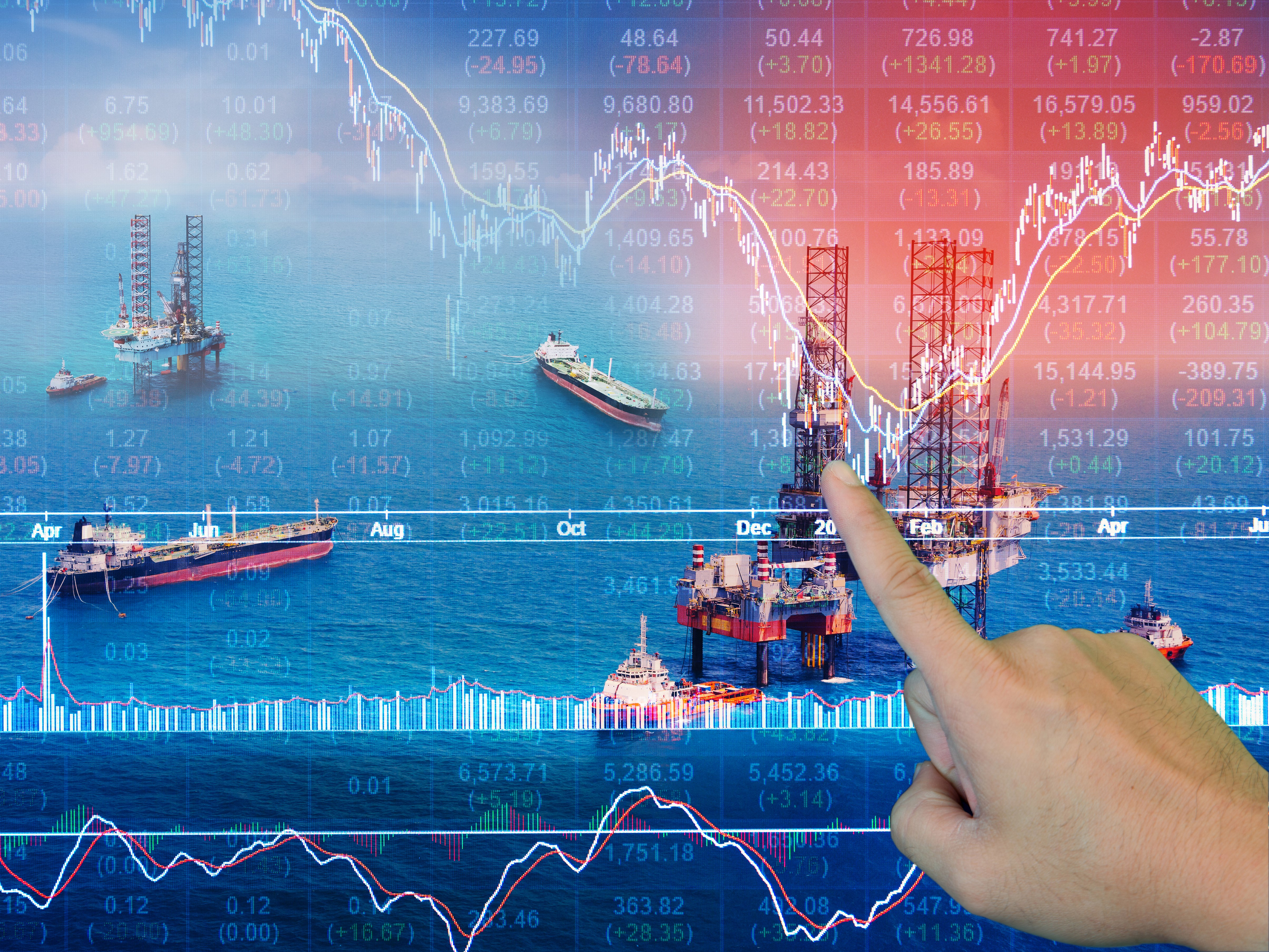 Stock market concept with oil rig in the gulf 2