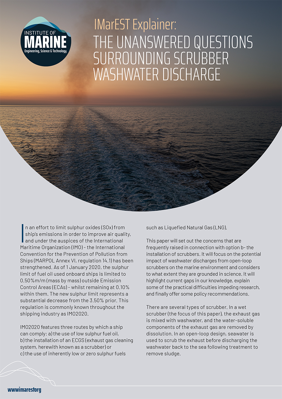 IMarEST Explainer: The unanswered questions surrounding scrubber washwater discharge