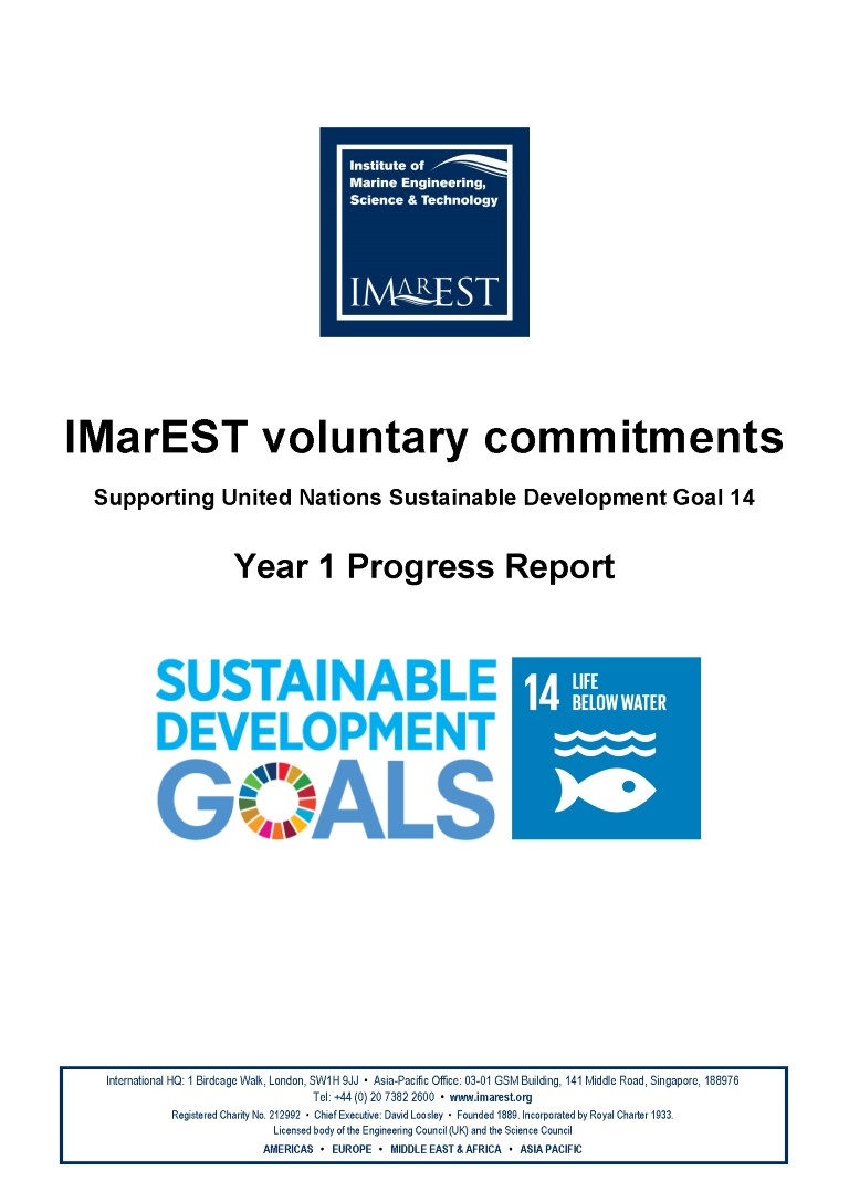 IMarEST commitments to UN SDG14 Year 1 Report