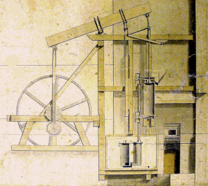 Chester flour mill 1785 B&W beam engine.  Reproduced with permission of the  Library of Birmingham (MS 3147/5/8)