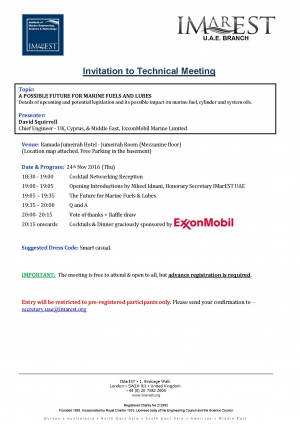 Invitation for Technical Meeting - 24 Nov