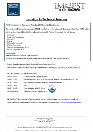 INVITATION: IHM meeting - 11 Apr