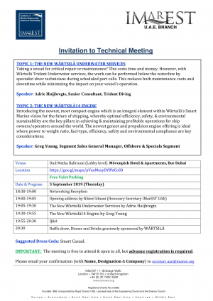 INVITATION: IMarEST-Wartsila meeting – 5 Sept