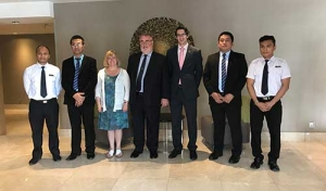 (L-R: Hlyann Pyae - Officer of the Watch Candidate, MES; Captain Min Min Tun – Principal, MES; Mrs Christine Hodge; Professor Chris Hodge OBE FREng – President, IMarEST; Mr David Kelly – Director of Asia Pacific, IMarEST; Captain Paing Soe Aung – Vice Principal, MES; Aung Htet Kyaw - Officer of the Watch Candidate, MES)
