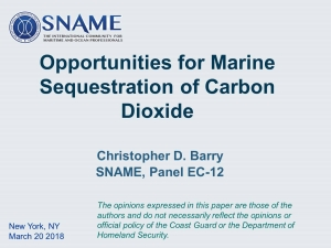 Opportunities for Marine Sequestration of Carbon Dioxide