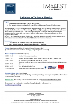 Invitation: IMarEST meeting - 16 Mar