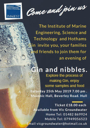 Gin & Nibbles - 25th May 2019 - Masonic Hall, Hull, 25th May