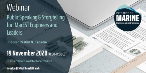 Webinar: Public Speaking & Storytelling for IMarEST Engineers and Leaders