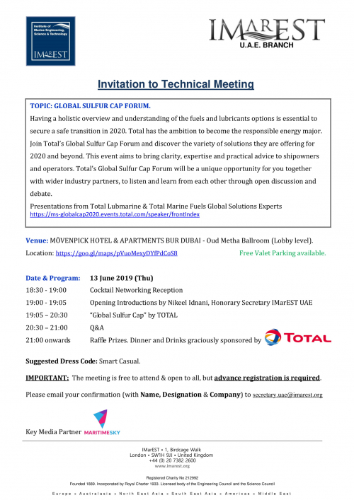 INVITATION: Global Sulfur Cap Forum – 13 June