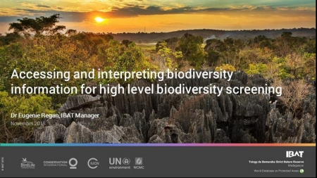Webinar - Accessing and interpreting biodiversity information for high level biodiversity screening