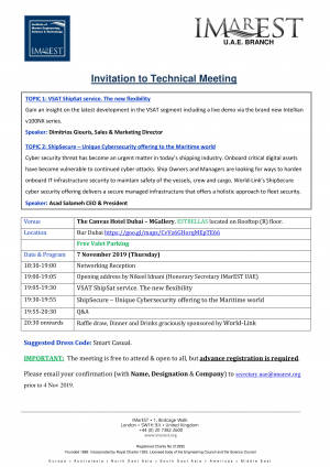 INVITATION: IMarEST-World Link meeting 7 Nov