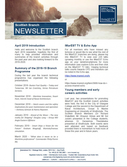 Newsletter - April 2019