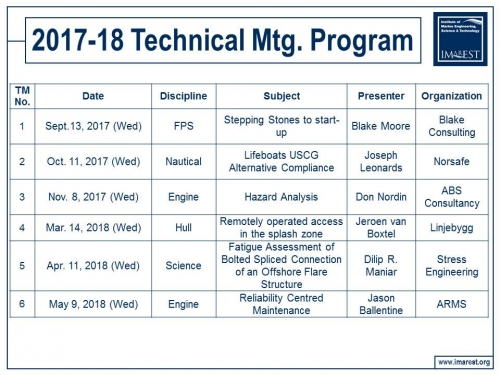 Technical Meeting Program 2017-18