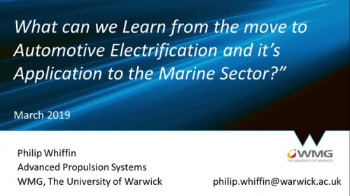 How does learning from Automotive Electrification apply to the Marine Sector?